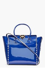 VALENTINO royal Blue Studded Patent Leather Trapeze Tote for women