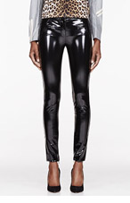VERSACE Black Patent trousers for women