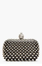 ALEXANDER MCQUEEN Black Leather Fishscale Pearl Skull Box Clutch for women