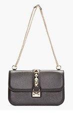 VALENTINO Black Studded Leather Shoulder Bag for women