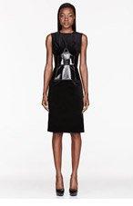 JONATHAN SAUNDERS Black Velvet & vinyl Corseted Kati Dress for women