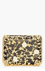 ALEXANDER MCQUEEN Black Gold Floral Bible Book Clutch for women