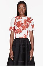 THOM BROWNE Cream & Red silk Lace-printed Pintuck T-Shirt for women