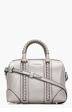 GIVENCHY Grey Braided Leather Lucrezia Small Duffle Bag for women