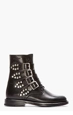 SAINT LAURENT Black Studded & Buckled Leather Rangers Boots for women
