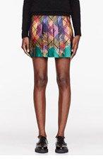 VERSUS Gold multicolor Plaid & crest Mini Skirt for women