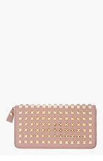 VALENTINO Dusty Rose Studded Leather Zip Wallet for women