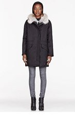 ARMY BY YVES SALOMON Black Coated cotton Fur-lined layered Parka for women