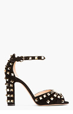 VALENTINO Black Studded Suede Heeled Sandals for women