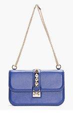VALENTINO Cobalt Blue Studded Leather Shoulder Bag for women