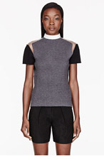 CEDRIC CHARLIER Grey embossed Tulle-trimmed Sweater for women