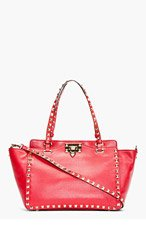 VALENTINO Red Studded Leather Rockstud Small Trapeze Tote for women