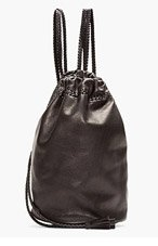 WENDY NICHOL Black Braided Leather Drawstring Backpack for women