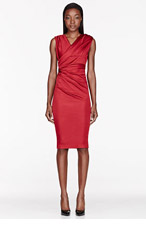 DSQUARED2 Red Satin Gathered cocktail Dress for women
