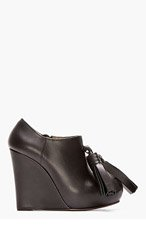 MARNI Black Leather Tasseled Wedge Boots for women