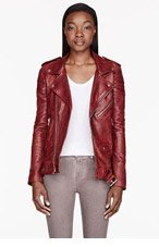 BLK DNM Brick Red Leather ribbed Biker Jacket for women
