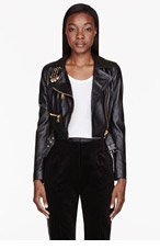 VERSUS Black Leather Pinned Biker Jacket for women