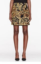 VERSACE Gold Rococo & spot Printed Skirt for women