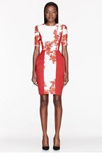 THOM BROWNE Cream & Red silk Folded Hip Dress for women