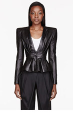 BALMAIN Black Leather Gathered Blouse for women