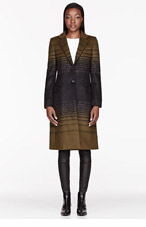 JONATHAN SAUNDERS Olive green gradient stripe Athena Coat for women