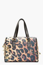 VERSUS Gold & Black Leopard Print Safety Pin Duffle Bag for women
