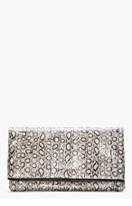 SAINT LAURENT Taupe Metallic Leather Foldover Letters Clutch for women