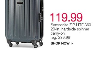 $119.99 Samsonite ZIP LITE 360 20-in. hardside spinner carry-on  reg. 239.99. Shop now.