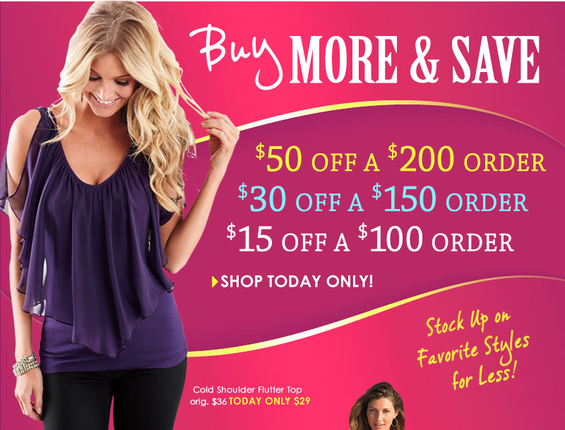 Buy More and Save! $50 off a $200 order ~ $30 off a $150 order ~ $15 off a $100 order!