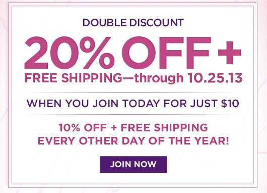 20% off + free shipping through 10.24.13 for just $10