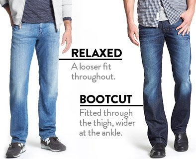 RELAXED - A looser fit throughout. BOOTCUT - Fitted through the thigh, wider at the ankle.