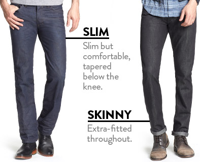 SLIM - Slim but comfortable, tapered below the knee. SKINNY - Extra-fitted throughout.