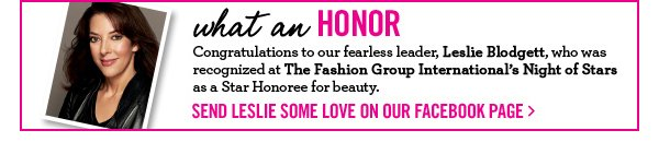 Congratulations Leslie, a Star Honoree for beauty