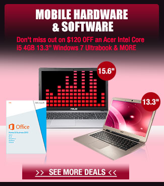 "MOBILE HARDWARE & SOFTWARE. Don't miss out on $120 OFF an Acer Intel Core i5 4GB 13.3"" Windows 7 Ultrabook & MORE"