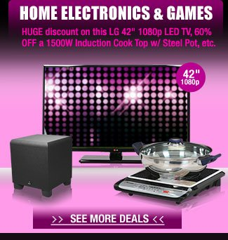 "HOME ELECTRONICS & GAMES. HUGE discount on this LG 42"" 1080p LED TV, 60% OFF a 1500W Induction Cook Top w/ Steel Pot, etc."