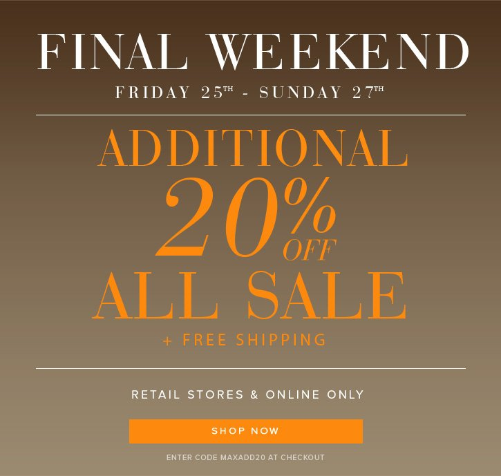 Additional 20% Off ALL SALE
