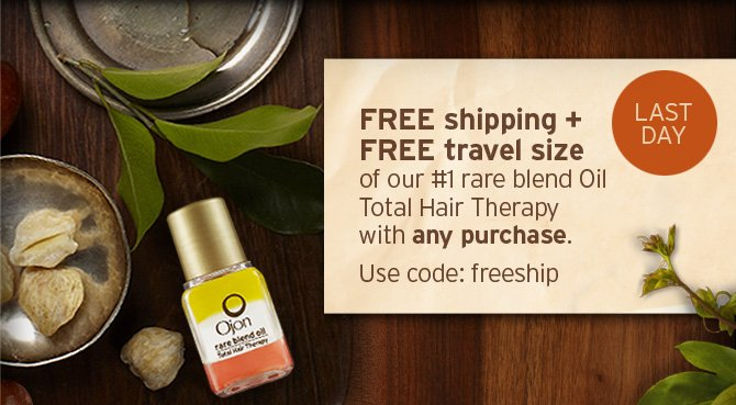 3 DAYS ONLY FREE shipping plus FREE travel size of our number 1 rare blend Oil Total Hair Therapy with any purchase Use code FREESHIP