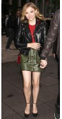 Chloe Grace Moretz doubles up on leather while greeting fans in NYC.