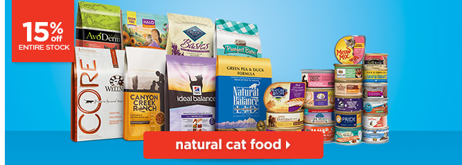 15% off entire stock of natural cat food