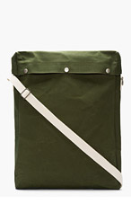 COMME DES GARÇONS SHIRT Green Canvas Snap-Button Tall Messenger Bag for men