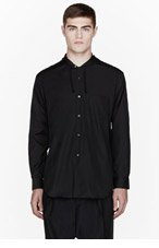 COMME DES GARÇONS SHIRT Black hooded dress shirt for men