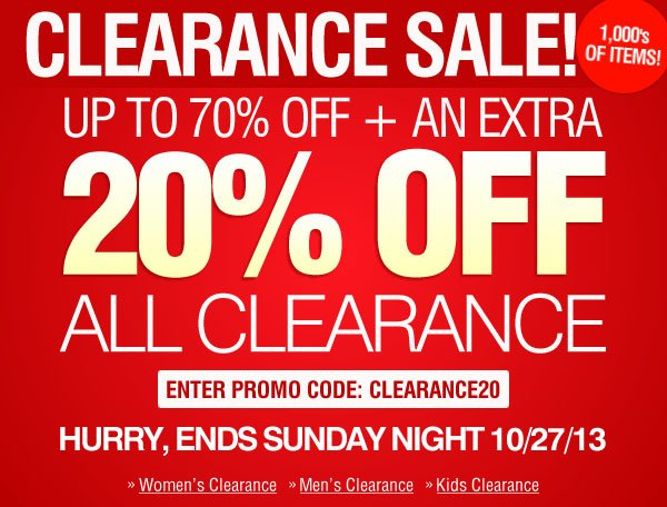Take an Extra 20% Off Clearance Items -- Enter promo code CLEARANCE20