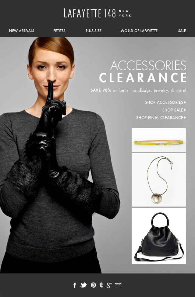 Accessories Clearance! 70% Off