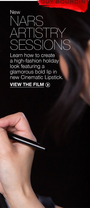 Learn how to create a high-fashion holiday look featuring a glamorous bold lip in new Cinematic Lipstick.