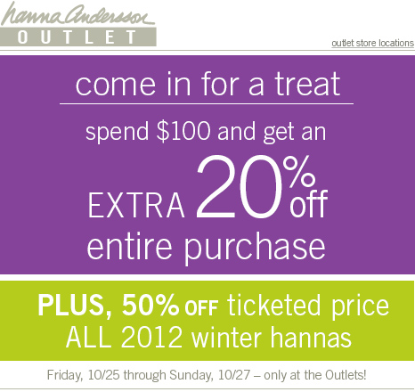 Come in for a treat - Spend $100 and get an EXTRA 20% off entire purchase