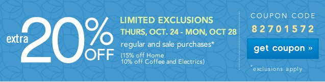 Extra 20% off. Limited Exclusions. Get coupon.