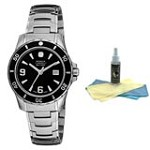 Wenger 79062 Women's Swiss Made SS Black Dial Watch with 30ml Ultimate Watch Cleaning Kit