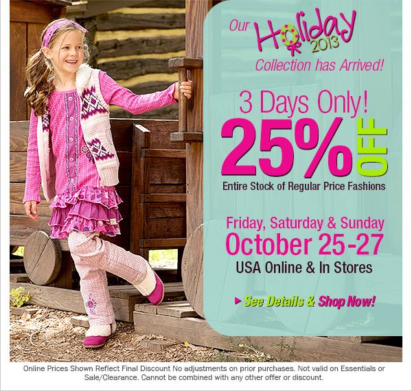 25% Off  Regular Price Fashions