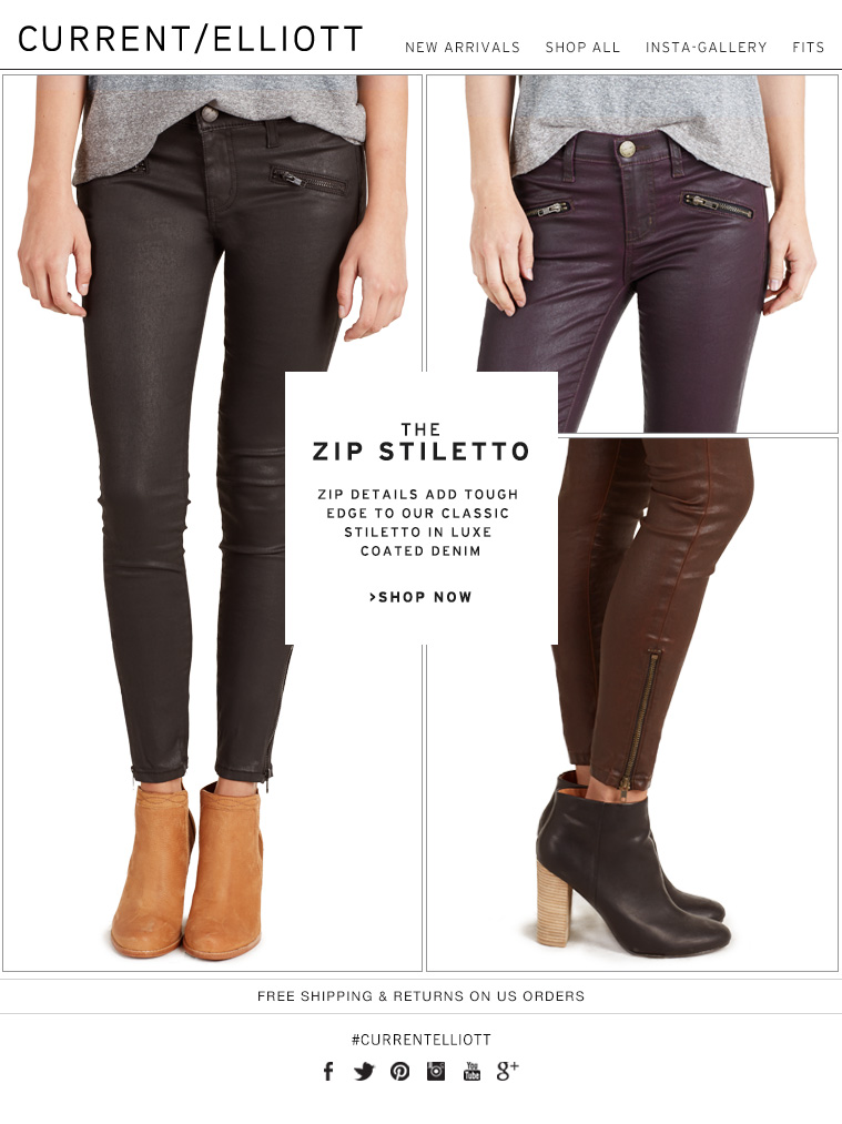 THE ZIP  STILETTO ZIP DETAILS ADD TOUGH EDGE TO OUR CLASSIC STILETTO IN LUXE COATED DENIM