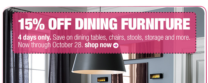 15% off dining furniture